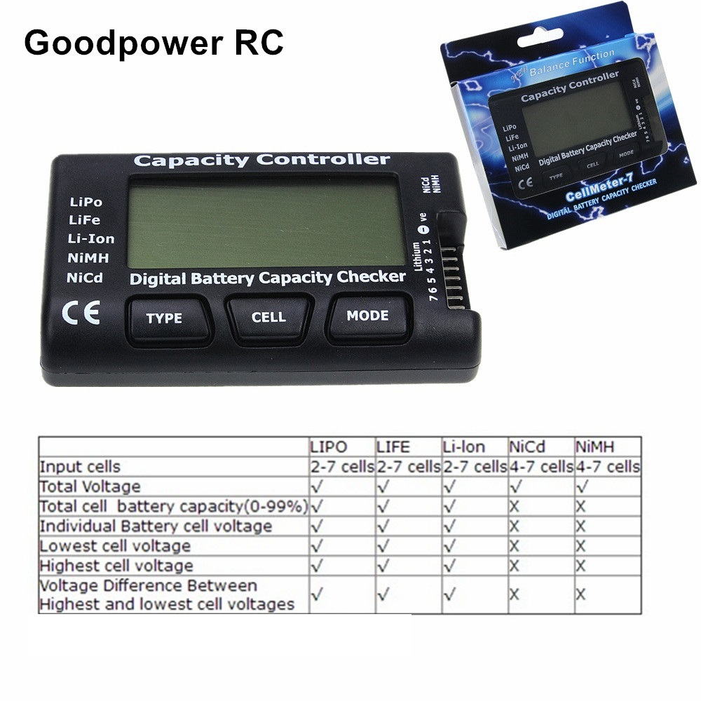 RC CellMeter-7 Digital Battery Capacity Checker LiPo LiFe Li-ion Nicd NiMH Battery Voltage Tester Checking CellMeter 7