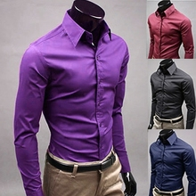 цены Men 's Fashion Candy Color Long - sleeved Slim Business Casual Shirt Men Luxury Stylish Casual Dress Slim Fit Casual Blouse