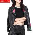 Más el tamaño de la moda mujeres de la alta calidad de corte de solapa bordado retro de lujo de cuero de Oveja chaqueta de cuero locomotora negro genuino