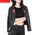Plus size fashion women high quality Sheep leather lapel luxury retro embroidery court locomotive black genuine leather jacket