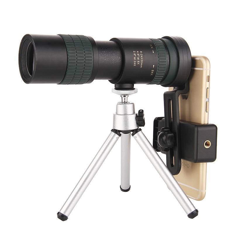 Telescope Phone-Clip Monocular Hunting With Camping Climb Travel Optics 8-24X30