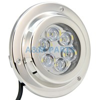 12V 24V 6 2W Surface Mount Marine LED Underwater Light White Stainless IP68