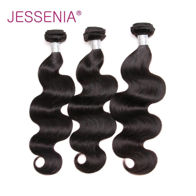 JESSENIA HAIR Brazilian Body Wave 3Pcs Human Hair Bundles With Closure 4Pcs/Lot Thick And Full bundles No Shedding No Tangle