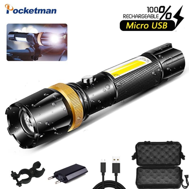 Brightest LED Flashlight Waterproof COB Lamp USB Rechargable Light Super Bright 5 Modes Powered By 18650 Battery For Camping