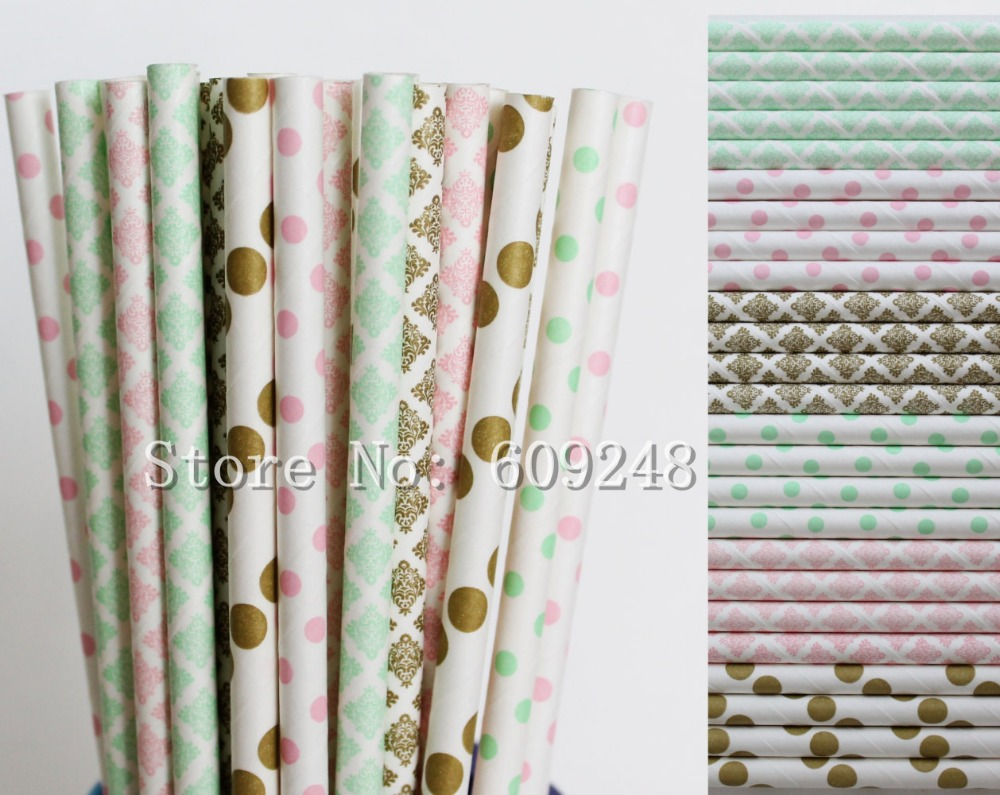 150pcs Drinking Paper Straws Mix,Light Pink and Mint Swiss Dot and ...