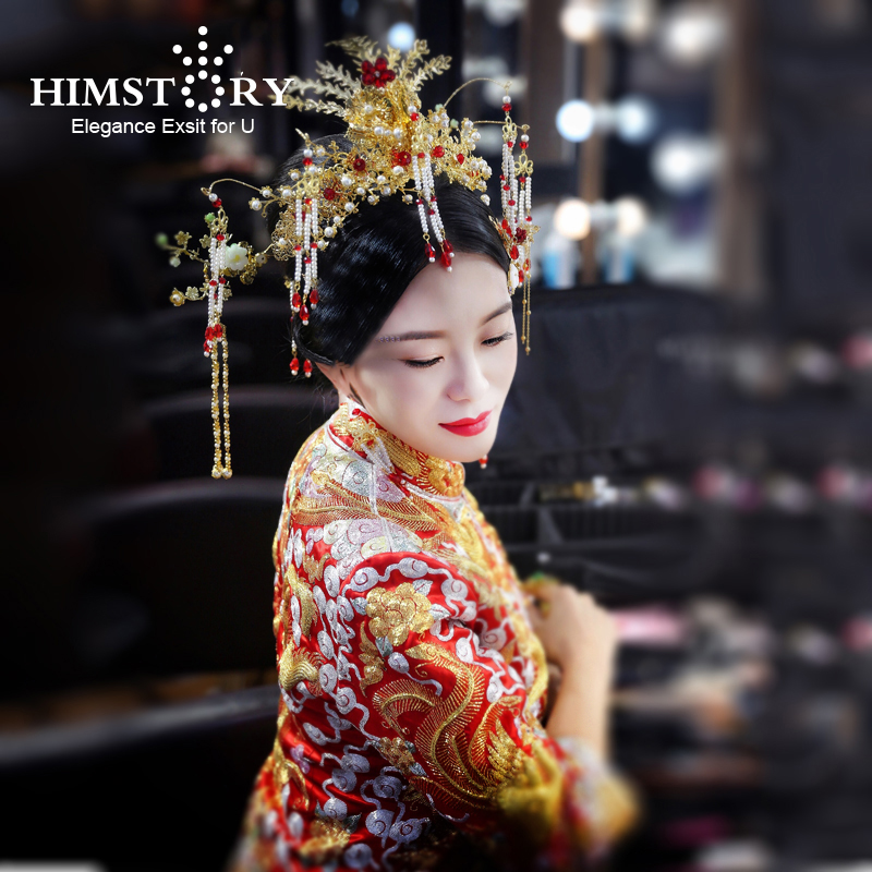 HIMSTORY Retro Chinese Gold Costume Hairwear Chinese Classic Princess Tassel Pearl Phonix Wedding Bride Hair Accessories 03 red gold bride wedding hair tiaras ancient chinese empress hat bride hair piece