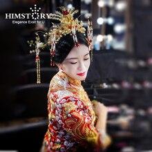 HIMSTORY Retro Chinese Gold Costume Hairwear Chinese Classic Princess Tassel Pearl Phonix Wedding Bride Hair Accessories