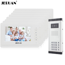 JERUAN 7 inch Video door phone Intercom System Apartment Doorbell intercom 8 Monitors 700TVL IR COMS Camera for 8 Call Button