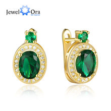 Fashion Copper Gold Hoop Earrings Green Cubic Zirconia Trendy Earrings Classic Party Jewelry For Women Lady(jewelora EA102939)(China)