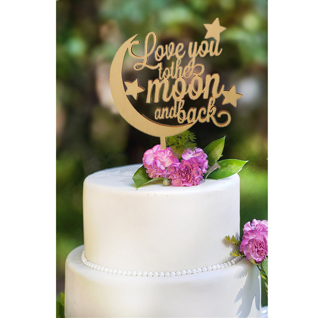 New Design Rustic Wedding Cake Topper Love You To The Moon And Back Wood