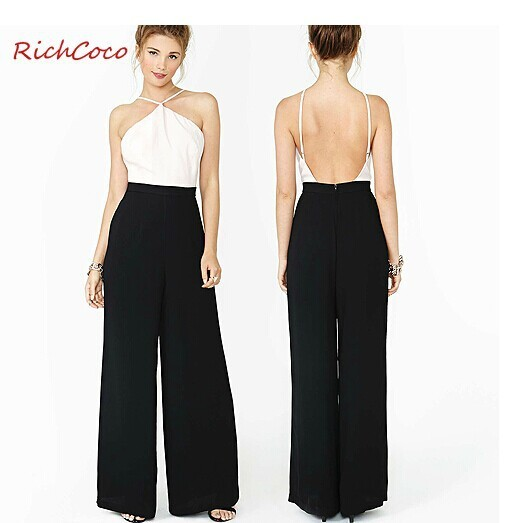 56c6e899b6a 2015 summer white black chiffon women jumpsuits overalls party backless  bodysuit formal wide leg long pants lady rompers XS~XXL