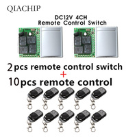 433Mhz Wireless 2pcs Remote Control Switch DC12V 4CH relay Receiver Module and 10pcs 4 channel RF Remote 433 Mhz