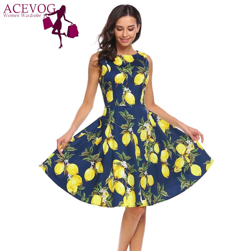 513e38be3292 ACEVOG Women Vintage Floral Print A-Line Dress O-Neck Sleeveless Cocktail  Party Skater Dresses 2017 Retro Party Robe Vestidos
