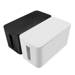 Cable Tidy Storage Box Black White PP Removable Cover Design Convenient Power Switch Easy to Heat Emission Prevent Dust Safety