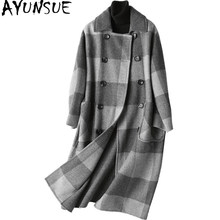 AYUNSUE 2018 Winter Wool Coat Women England Style Plaid Wool Coat Female Autumn Long Jacket Outwear casaco feminino 37128 YQ1196(China)