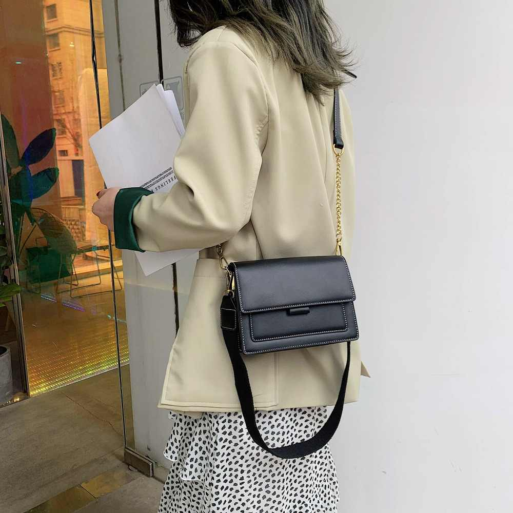 Кожаные сумки через плечо контрастного цвета для женщин 2019 дорожная сумка модная простая сумка через плечо Женская мини-сумка с клапаном