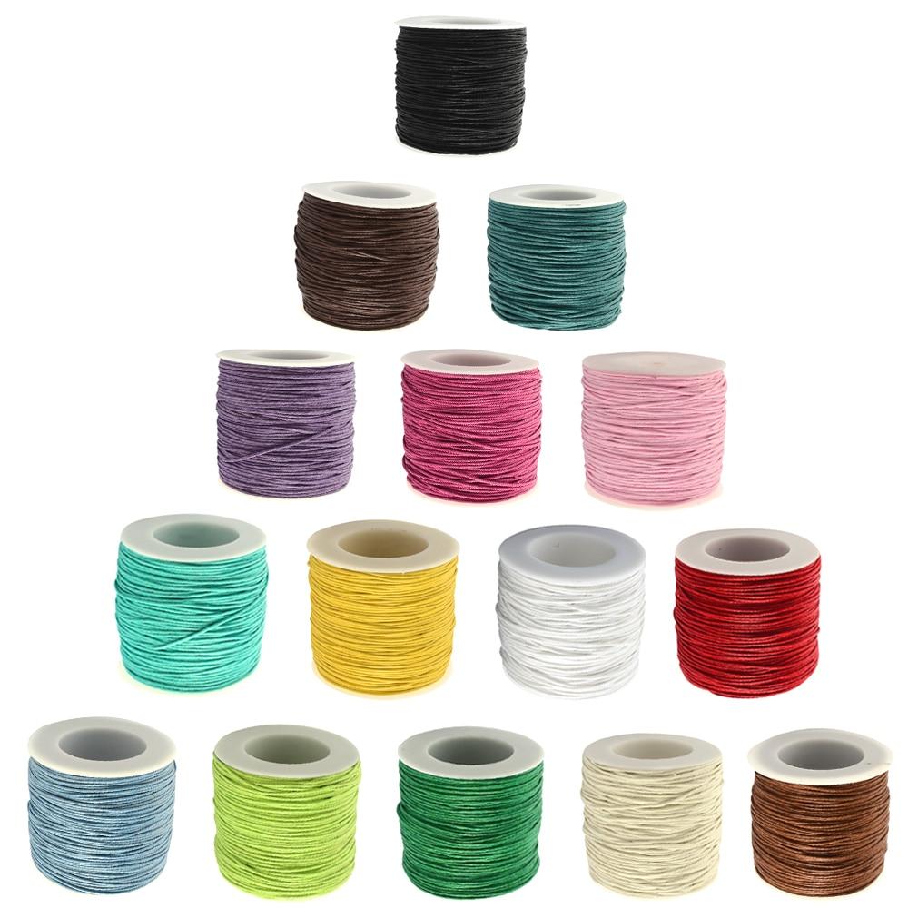 ᐅ1mm 84 M/roll algodón encerado joyería pulsera de tela trenzado ...