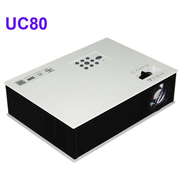 Precio más barato 2400 lúmenes UC80 Multimeda HD LED de Cine En Casa MINI proyector De Videojuegos TV MovieI Con HDMI Soporte TV 1080 P