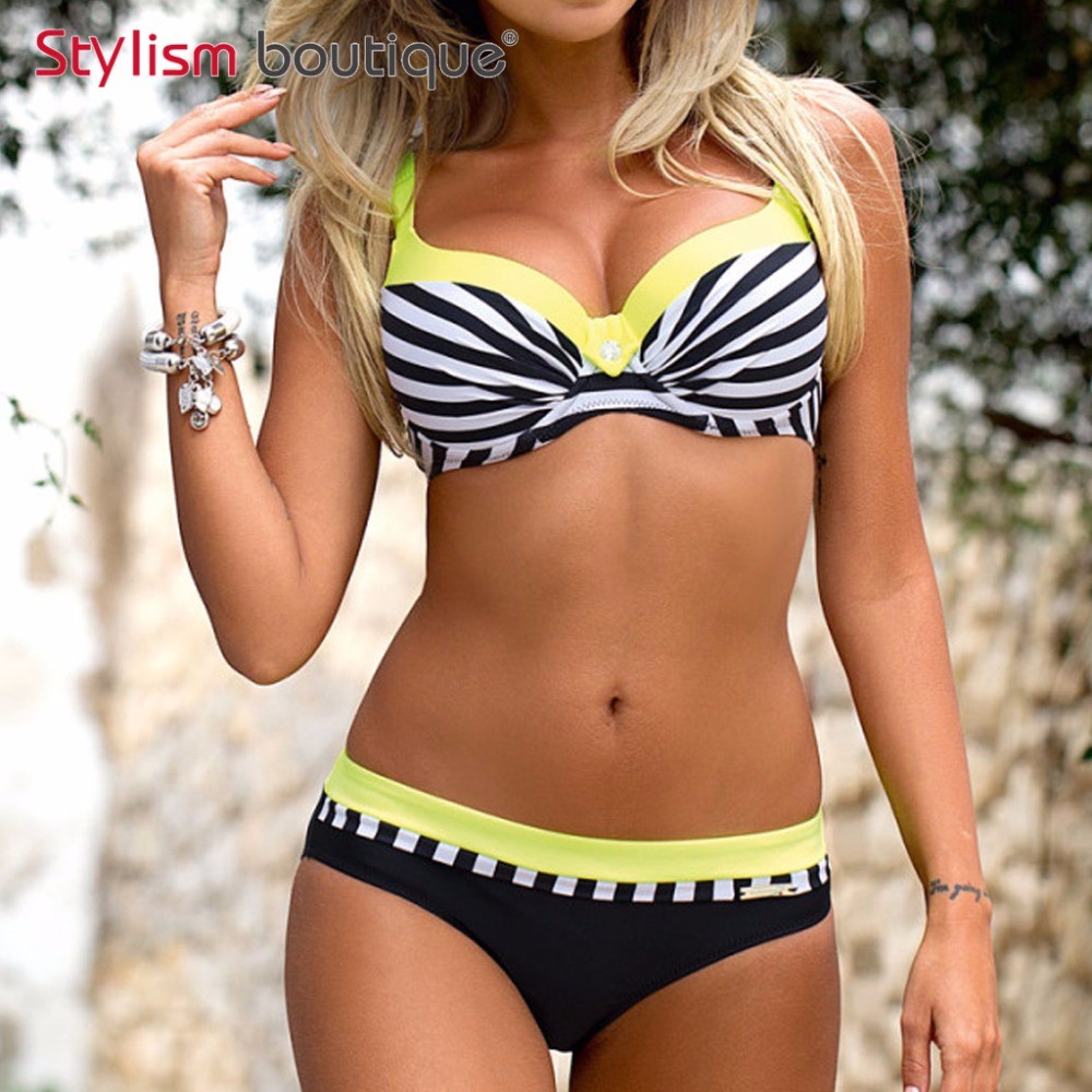 2018 New Sexy Bikini Printed Women Swimsuit Push Up Swimwear Striped Bikinis Set Patchwork Beachwear Bra Style Bathing Suit XXL la maxpa new bikini women swimwear print bikinis set two piece swimsuit sexy padding bathing suit beachwear