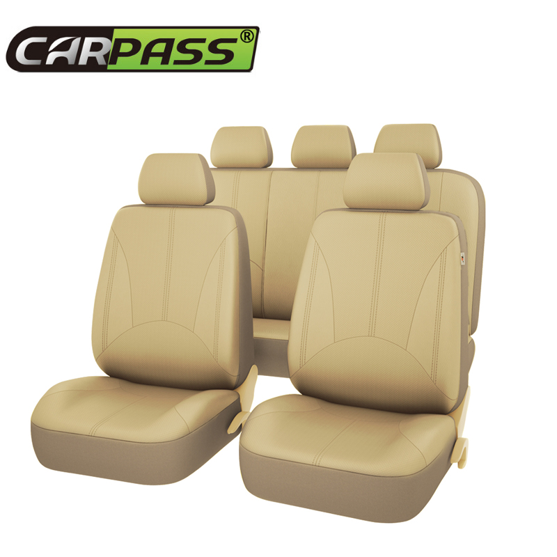 Car-pass PU Leather Auto Seat Covers 3 Color Universal Black Beige Gray Car Seat Covers  For Toyota Lada   Volkswagen 9pcs set coffee color pu leather universal auto car seat covers automobile seat cover chair cushion for lada kalina toyota suzu