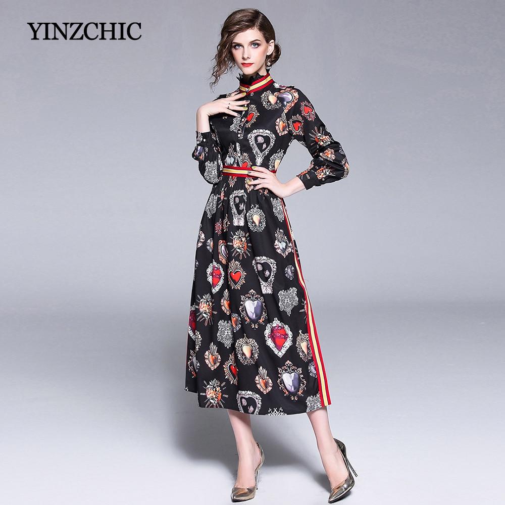 e7280f333 Mujeres 2018 Para Vintage Mujer Otoño blanco Corazones Las Estampado Fiesta  Longitud Midi Vestidos Vestido Calle ...