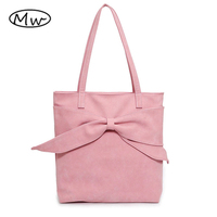 Moon Wood Korean Women Big Bow Scrub Leather Tote Bag Sweet Girls Pink Shoulder Bag Double Straps Ladies Casual Handbag Bolsas