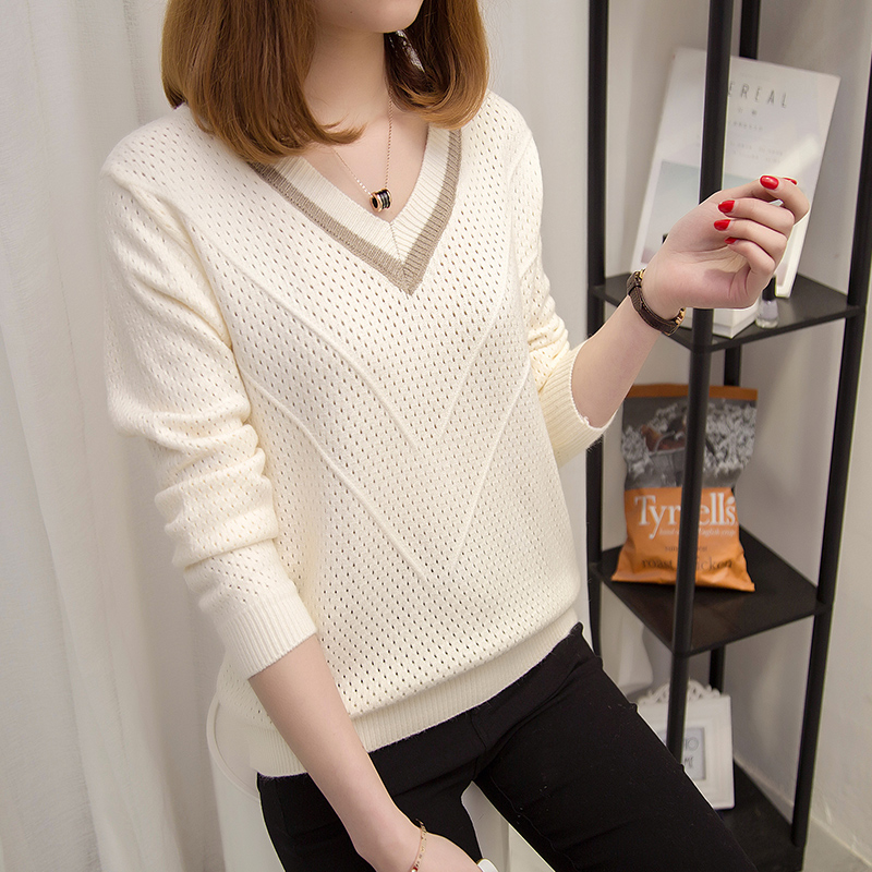 Knitted Sweater Pullover Short V-Neck Loose Autumn Hollow Fashion Women Spring Casual