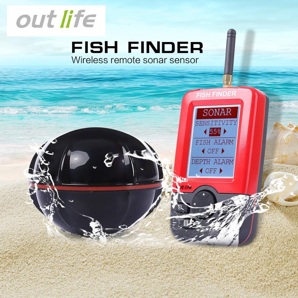Outlife Портативный Рыболокаторы Sonar эхолот сигнализации преобразователя Fishfinder 100 м Рыбалка беспроводной эхолот с Английский Дисплей