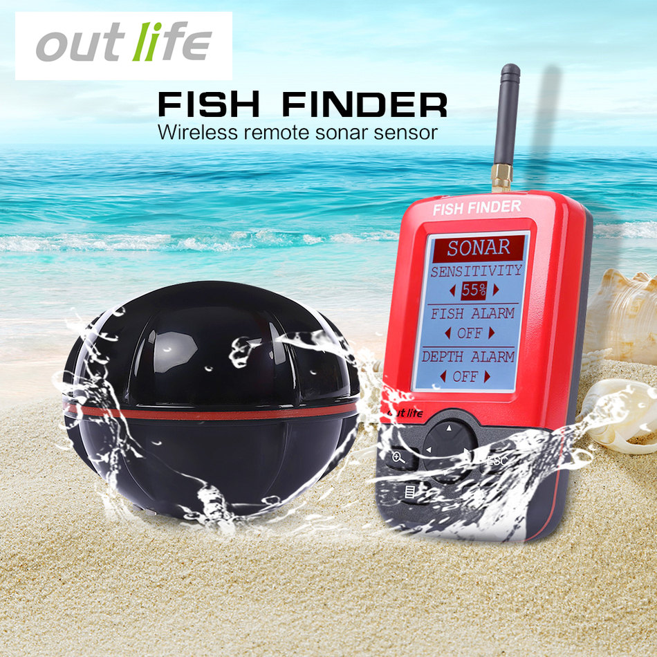 Outlife Portable Fish Finder Sonar Sounder Alarm Transducer Fishfinder 100M fishing wireless echo sounder with English Display waterproof portable fish finder depth sonar sounder alarm transducer fishfinder 100m echo sounder deeper fishfinder