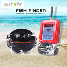 Outlife Portable Fishing Fish Finder Sonar Sounder Alarm Transducer Fishfinder 100M Fishing Wireless Echo With English Display