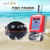 Outlife Taşınabilir Balıkçılık Balık Bulucu Sonar Siren Alarm Transducer Fishfinder 100 M Balıkçılık Ile Kablosuz Echo İngilizce Ekran