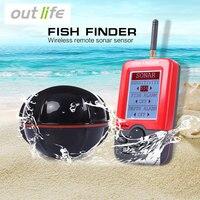Outlife Portable Fish Finder Sonar Sounder Alarm Transducer Fishfinder 100M Fishing Wireless Echo Sounder With English