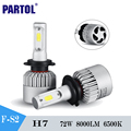 Partol S2 H7 Led Car Headlight Work Light COB Chips 72W 8000Lm Led Driving Light Auto Fog Light DRL For Audi/BMW/Porsche/Toyota