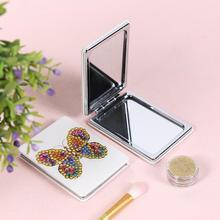 5D DIY diamante pintura espejo Mini bolsillo mujeres chica maquillaje espejo mariposa diamante bordado espejos