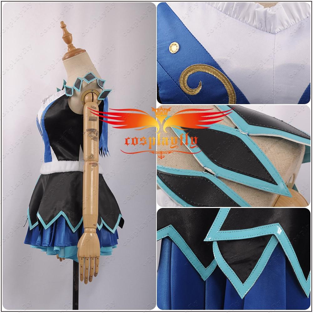 LoveLive! SunShine!! Aqours Matsuura kanan cartes d'activité scène COS filles bleu + noir Cosplay Costume adulte femmes cheveux anneau robe - 3