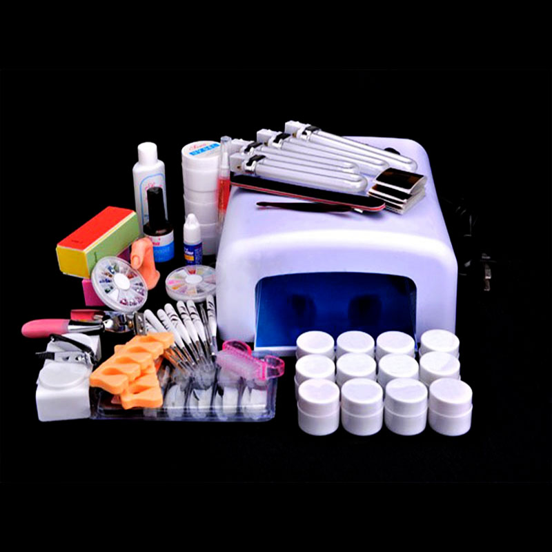 ФОТО  Professional Full  9W Curing UV Nail Dryer Lamp Curining Nail Tools White Beauty UV gel Nail Art Set
