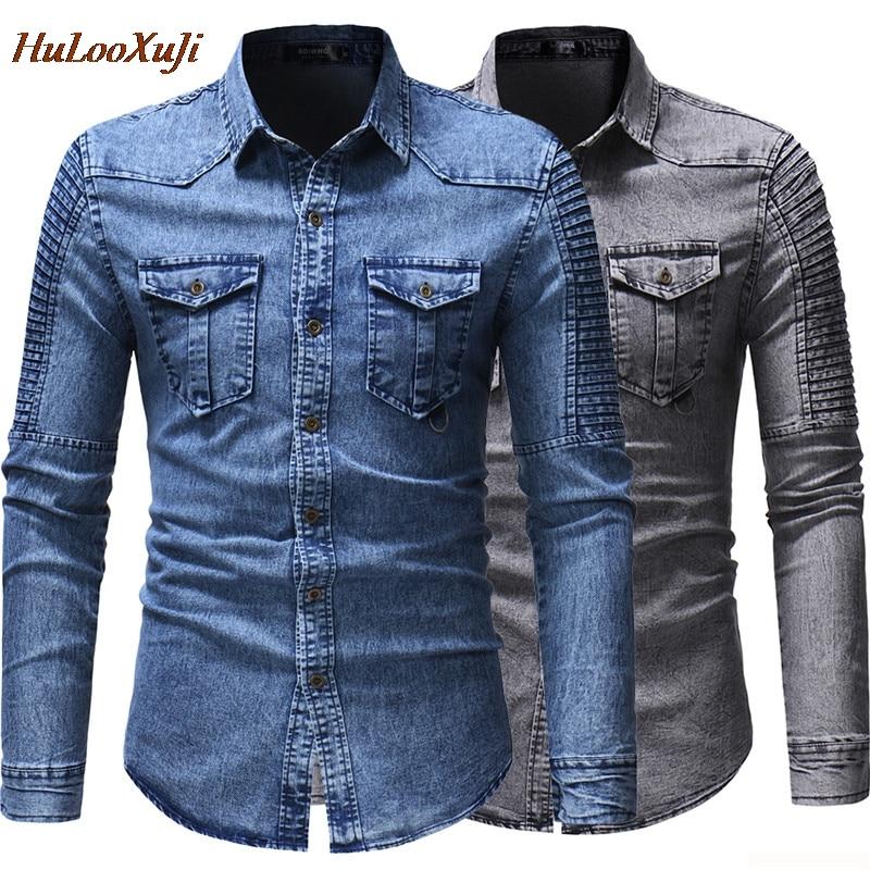 HuLooXuJi Men Denim Shirt Cotton Jeans Shirt Fashion Autumn Winter Long Sleeve Stylish Washed Slim Fit Tops US Size:M-3XL