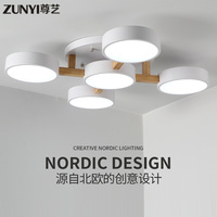 Индивидуальный простой, пост современный нордический стиль гостиная лампа Главная спальня Светодиодная потолочная лампа деревянное бревн