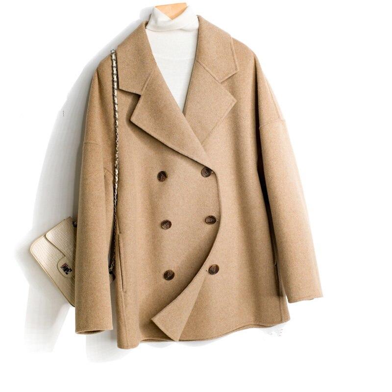 Laine Court Veste En De Automne Cachemire Double Mf646 Manteau Face Feminino Top Femmes Inverno pink Chaud Hiver Casaco grey black Camel Qualité Yolanfairy wgzqOIxI