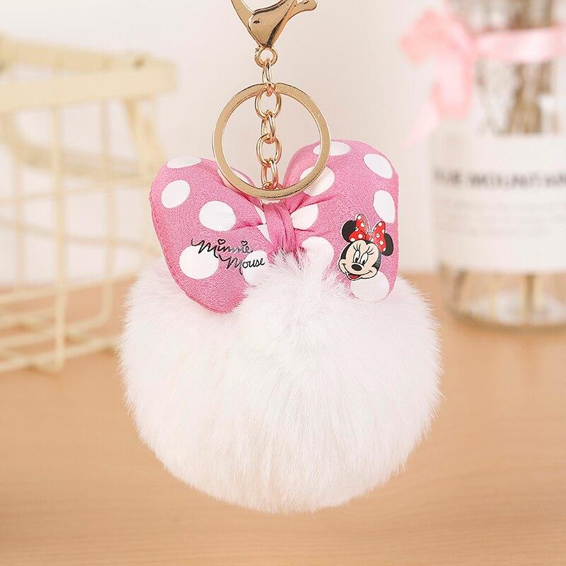Mickey Bowknot Rabbit Fur Ball Pompom For Car Keychain Bag Key Chains Jewelry Women Car Bag Key Ring Llaveros Chaveiros EH882