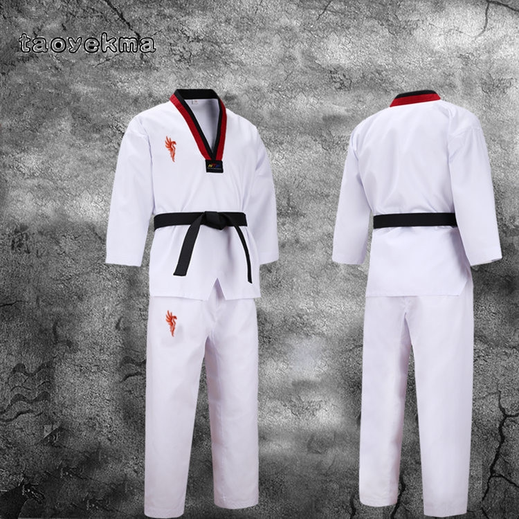 Sports & Entertainment Other Fitness & Bodybuilding Products 3 Color Taekwondo Dobok V Neck Uniform Black Collar Adult Children Teenagers Tkd Poomsae Red Blue Tae Kwon Do Black Clothes Wtf