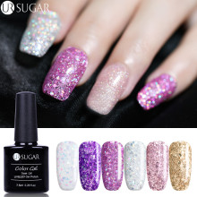 UR SUGAR 7.5ml Glitter Gel Polish Shiny Diamond Gel Esmalte de Uñas Brillo Holográfico Lentejuelas Nail Art Varnish Soak Off UV Gel DIY