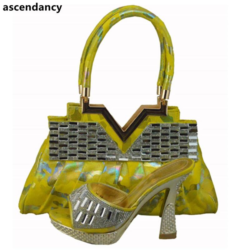 Assortis Africain Femmes Arrivée Orange fuchsia Et Italien Sacs Sac Nouvelle Pompes Parti Chaussure Les Talons Nigérian Chaussures jaune FOAUwxxqcn