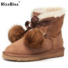 Rizabina холодной зимы из натуральной кожи Женские снегоступы толстые Мех животных внутри теплые зимние ботинки для Для женщин помпоном без каблука Ботинки размеры 34–39