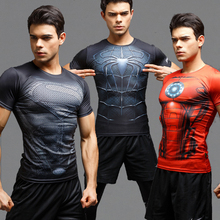 2016Gym Сжатия Рубашка SuperHero 3D Принт Футболка Супергерой Crossfit Мужские Стиль FashionTops Brand Clothing For Men