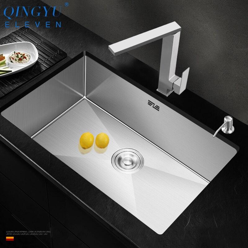 Qingyu onze pia da cozinha sem chumbo escovado artesanal 304 aço inoxidável 3mm espessura única bacia barra contador pia cozinha