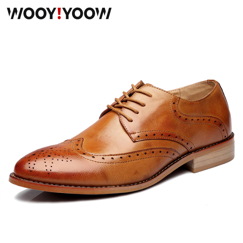 Genuine leather business men's shoes Luxury Brand Male shoes Oxford Brock Casual Shoes Spring autumn new style Big size 38-46(China)