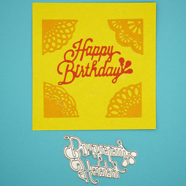 happy birthday cutting dies scrapbooking stencil for diy album paper card photo love letter decorative craft