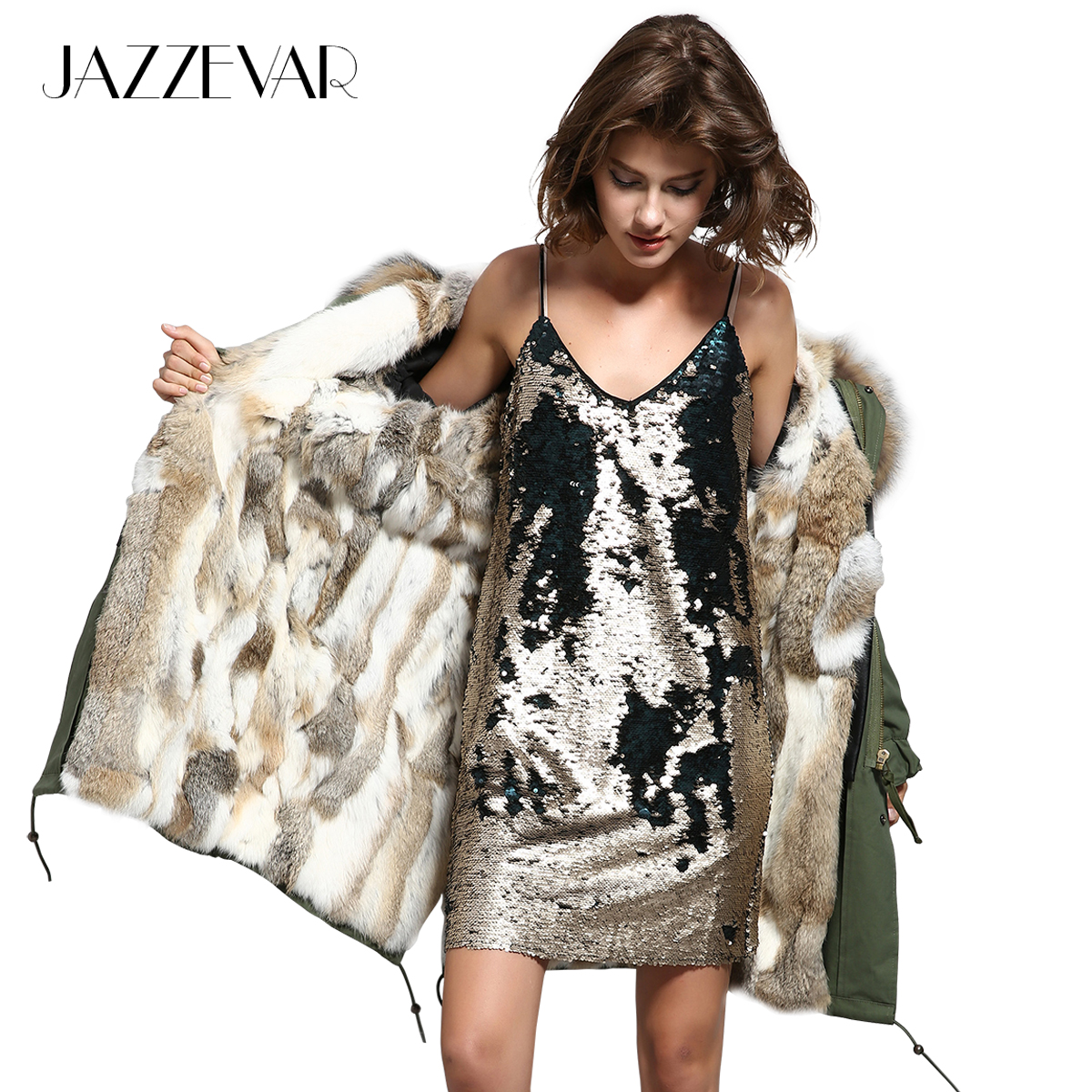JAZZEVAR 2019 Women army green Large raccoon fur hooded long coat parkas outwear natural rabbit fur
