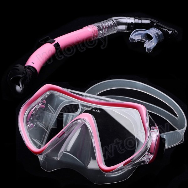 Pink Scuba Diving Snorkeling Silicone Mask Set